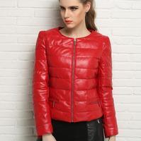 Autunno inverno cappotti di pelle di pecora delle donne giù cappotto genuino giacca di pelle delle donne jaqueta de couro motoqueiro rotonda collare rosso nero
