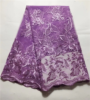 Best Quality African purple Lace Fabric White Swiss Voile Lace High Quality Embroidery French Mesh 2019 Nigeria Lace Fabric(JY-4
