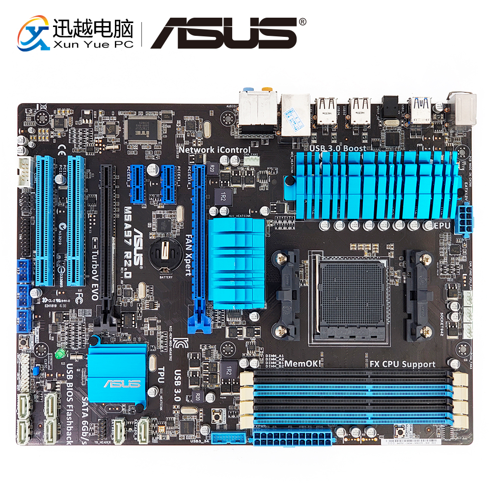Asus M5A97 R2.0 Desktop Motherboard For AMD 970 Socket AM3+ DDR3 32G SATA3 USB2.0 ATX asus crosshair iv extreme desktop motherboard 890fx socket am3 ddr3 sata3 usb3 0 atx