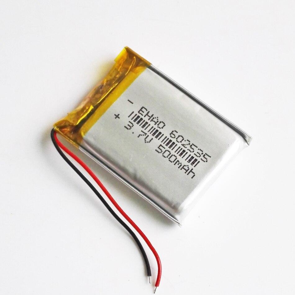 3,7 V 500mAh литий-полимерная LiPo аккумуляторная батарея 602535 для Mp3 MP4 gps bluetooth электронные книги внешний аккумулятор камеры 6*25*35 мм