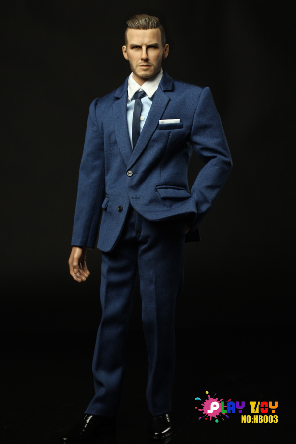 1/6 figure doll clothes male suit with David Beckham head for 12