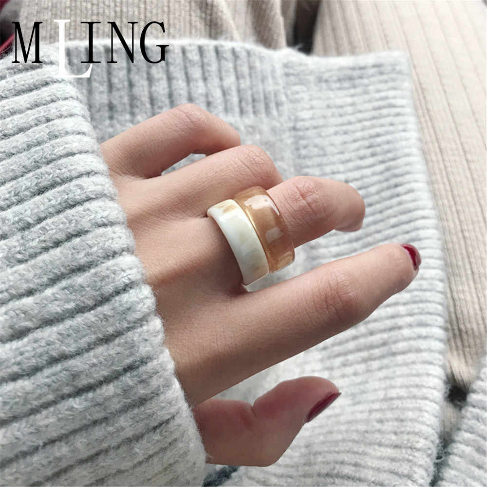 MLING Vintage French Simple Ring Japanese and Korean Style Marble Texture Ring For Women
