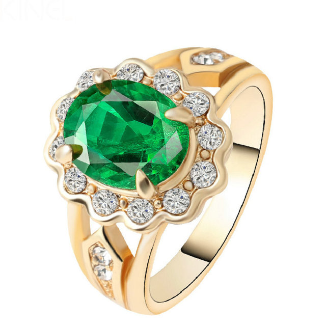 luxury big green crystal wedding rings for women plating gold mosaic white crystal 2017 new fashion - Crystal Wedding Rings