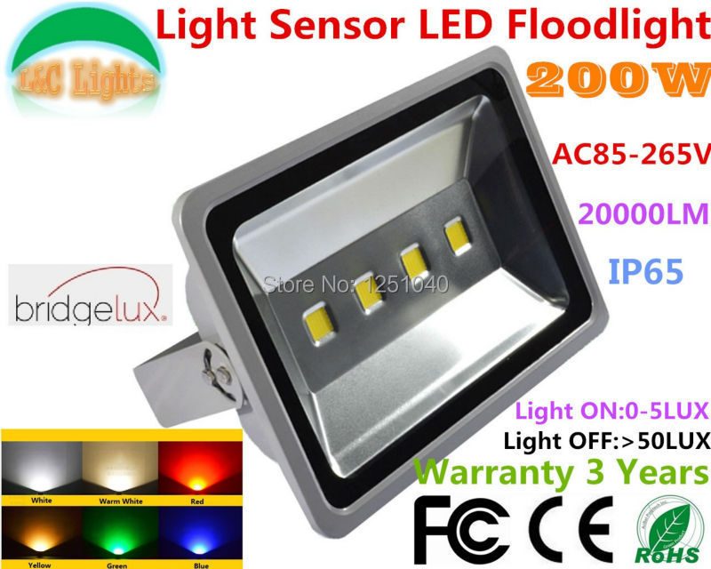 200W Light Sensor Control Floodlight,Can be Auto ON and OFF,4*50W LED Waterproof Cast Light ,IP65 Outdoor Spotlight  2PCs a Lot