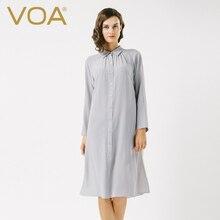VOA pure raglan sleeve silk shirt female casual loose long sleeved blouse B6563