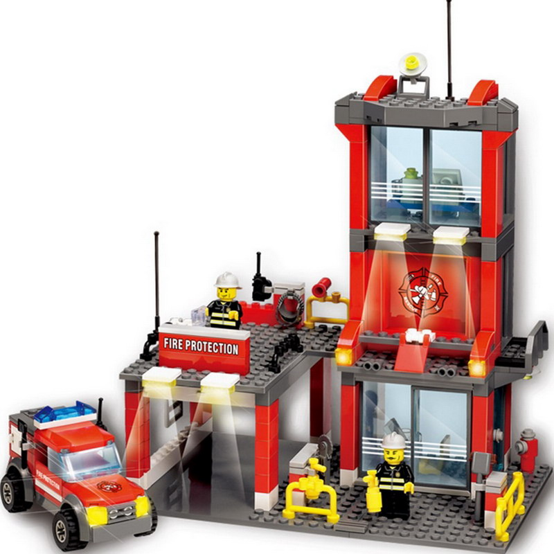 8052 KAZI City Fire Station Building Blocks 300pcs Bricks Classic Enlighten DIY Action Figure Toys For Children Compatible Legoe decool 3114 city creator 3in1 vehicle transporter building block 264pcs diy educational toys for children compatible legoe