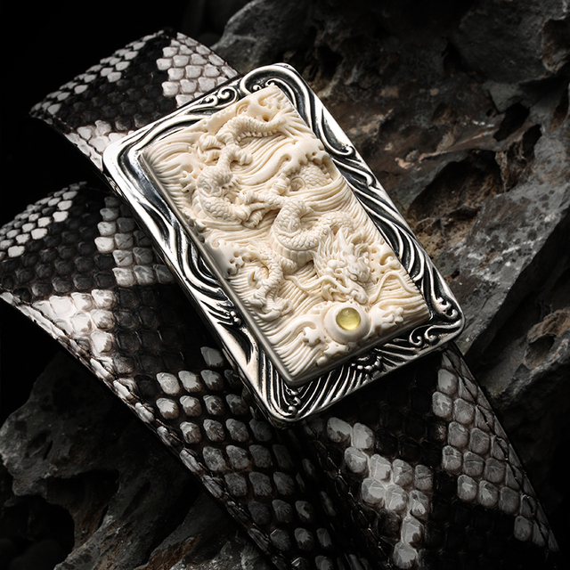 3980 genuine boa leather 3D carved dragon super ivory & sterling silver buckle super quality durable stylish handmade belt 1