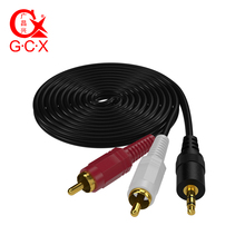 GCX RCA Cable 3.5mm to 2RCA Auxiliary Stereo Audio Y Splitter Cord Gold Plated 3.5 Male Jack Double for TV Box Speaker