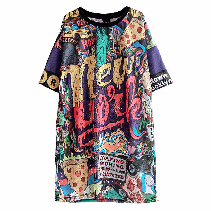 2020 록 여성 하라주쿠 편지 짧은 소매 티셔츠 복장 펑크 중간 긴 대형 드레스 여름 3D 패턴 쿨 탑