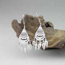 Water Drop 999 Sterling Silver Tassel Earrings Ethnic Women's Earings Boho Jewelry Fine Handmade Luxury Miao Silver Jewellery цена
