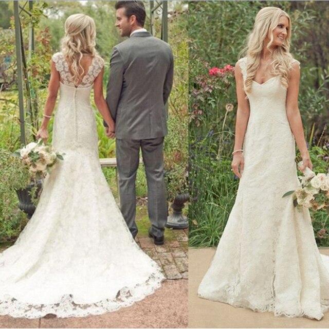 Elegant Country Wedding Ideas: Rustic Style Lace Wedding Dress Vestido De Noiva Robe De