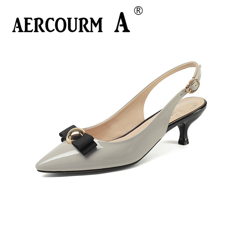 Aercourm A Women Pointed Toe Sandals Girls Genuine Leather Sandals Lady Buckle Solid Summer Shoes 2018 Metal Button Sandals Z360