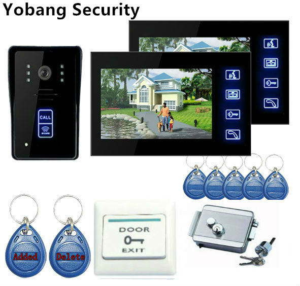 Yobang Security freeship 7''home improvement video doorphone Door Phone Doorbell Video Intercom Night Vision with exit button 7 inch video doorbell tft lcd hd screen wired video doorphone for villa one monitor with one metal outdoor unit night vision