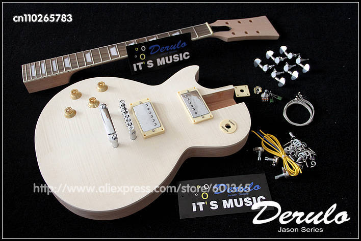 DIY Electric Left-Handed Guitar Kit  Solid Mahogany  Flamed Maple Veneer Top free shipping china left handed str electric guitar aged in cream 160106 0320