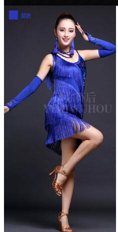 1pcs/lot free shipping Elegant Sexy Women Girls Sequin Fringe Tassel dress Ladies Latin Tango Ballroom Salsa dress