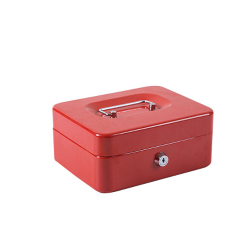 Portable Steel Petty Lock Cash Box Lockable Security Safe Box Durable Steel With 2 Keys And Compartment Tray For Home Office M portable steel safe box cash jewelry storage collection box for home school office with compartment tray lockable security box l
