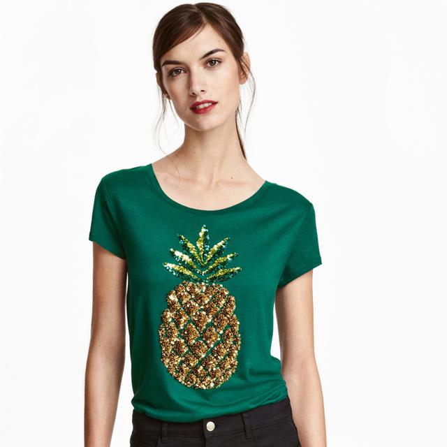 Piña lentejuelas camisetas de moda t shirts gráfico damas de manga corta entallada camisetas del verano más el tamaño verde tops
