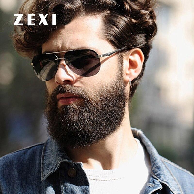 Zexi 50mm Black Sunglasses Men Polarized Alloy Frame
