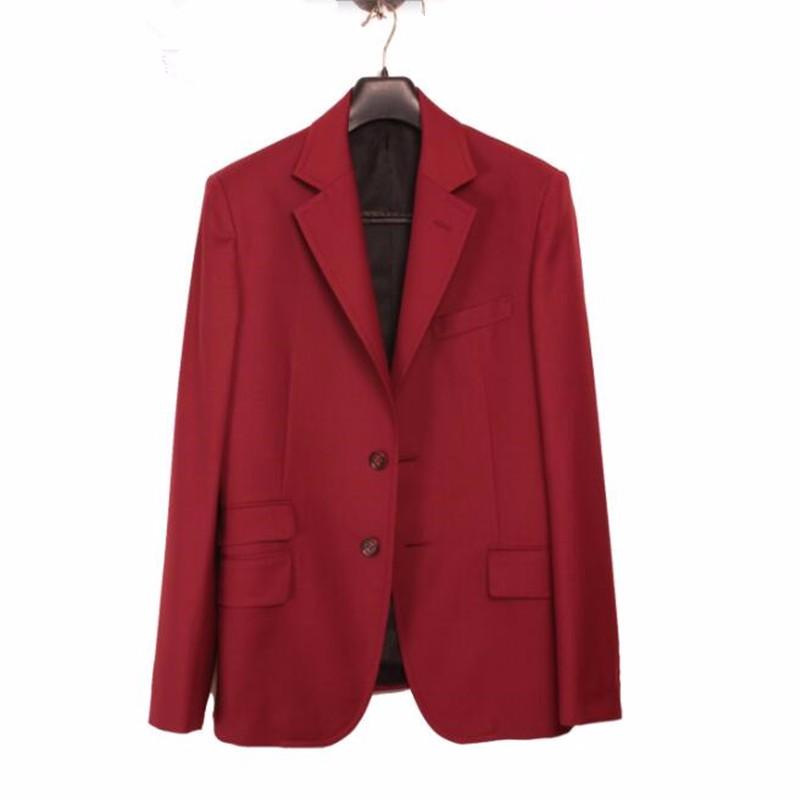 9.1Red Simple men suits jacket Handmade men\'s wedding dress jacket high quality bridegroom groomsman suits jacket