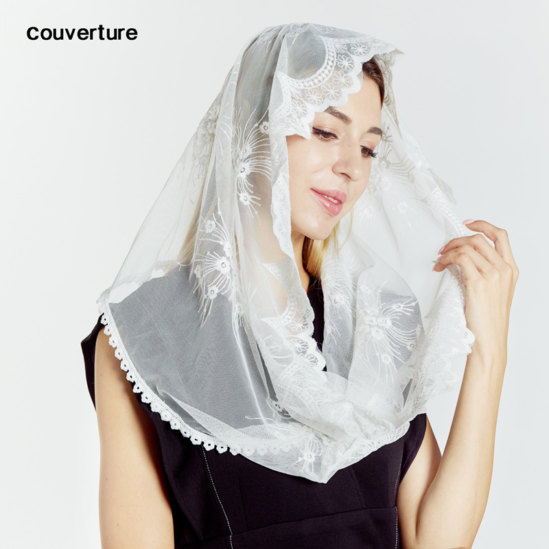 Couvert Fashion Lace Cotton Scarf Bandana Infinity Church Prayer Wedding Mantilla Chapel White Embroidered Hijab Women Scarf
