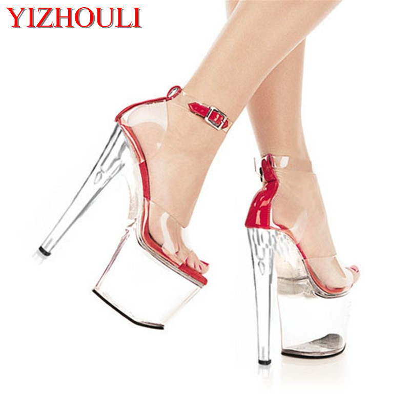 20cm high-heeled shoes sexy shoes full transparent crystal bag sandals performance shoes 8 inch High-heeled shoes20cm high-heeled shoes sexy shoes full transparent crystal bag sandals performance shoes 8 inch High-heeled shoes