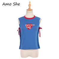 Amo She Sexy Summer Heart Letter Print Women Tank Top Casual Loose Lace Up Sleeveless Vest