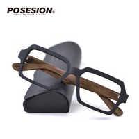 Posesion ไม้ผู้ชายผู้หญิงกรอบแว่นตา Square Prescription Optical แว่นตากรอบแว่นตาชาย oculos de grau