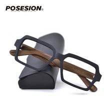 Posesion Wood Men Women Glasses Frames Square Oversized Prescription Optical Eye Glasses Frames for Men oculos de grau