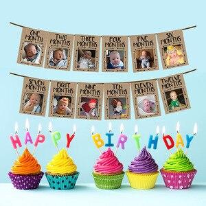 1 ° aniversário do bebê foto banner para recém-nascido a 12 meses mensal marco fotografia bunting guirlanda primeiro aniversário decoração