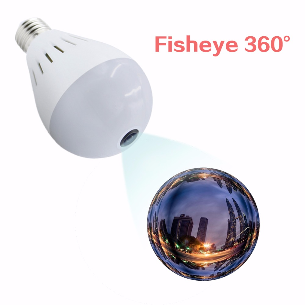 Bulb Lamp Camera Wireless Panoramic 360 VR 1080P 2MP  IP Camera Smart LED Lights Cam White Light Night Vision Bulb Home Security smart bulb e27 7w led bulb energy saving lamp color changeable smart bulb led lighting for iphone android home bedroom lighitng