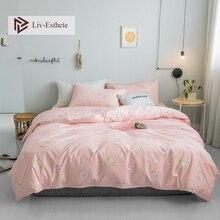 Liv-Esthete Hot Sale Cute Pig Cartoon 100% Cotton Bedding Set Pink Duvet Cover Pillowcase Flat Sheet Double Queen King Bed