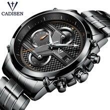 Купить с кэшбэком 2017 CADISEN Famous Brand Men's Watch Waterpoof Stainless Steel Men's Clock Fashion Leather Quartz Wristwatch Relogio Masculino