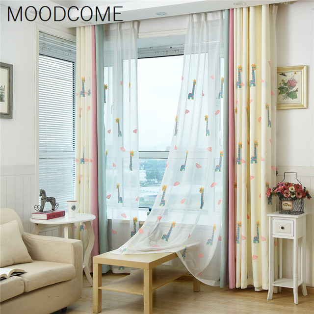 Korean Childrens Room Linen Girls Boys Cartoon Curtain Embroidery