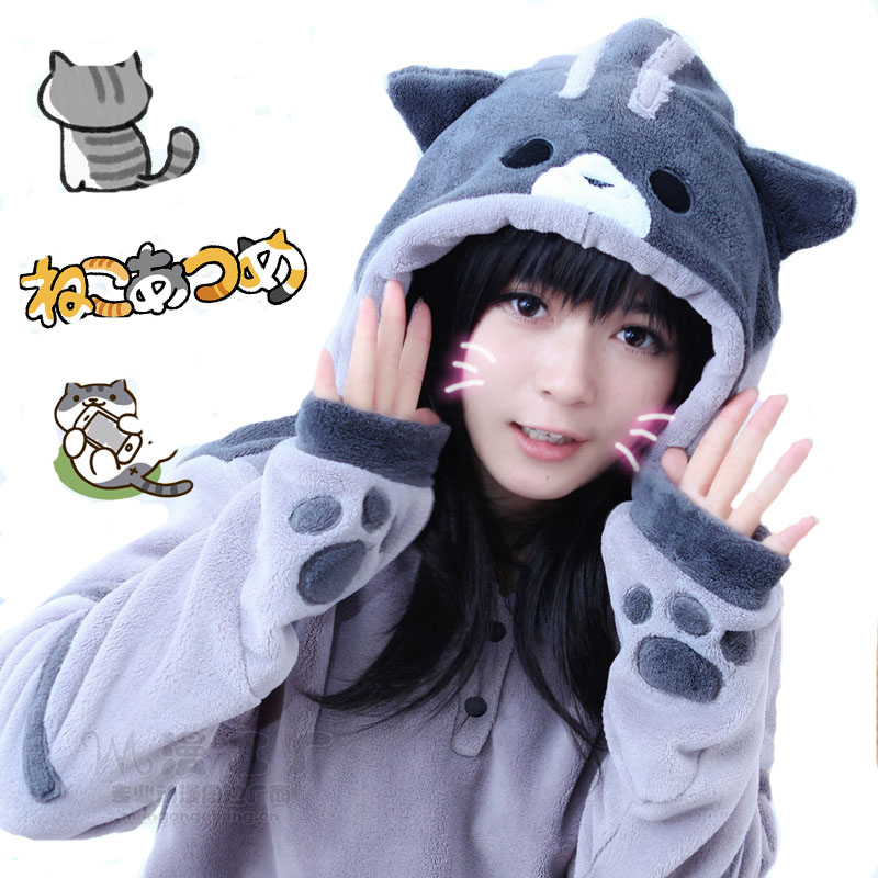New Design Game Neko Atsume Cosplay Costume Hoodie Woman Cute Cat Thicken Flannel Hooded Sweatershirts Winter Coat Jacket