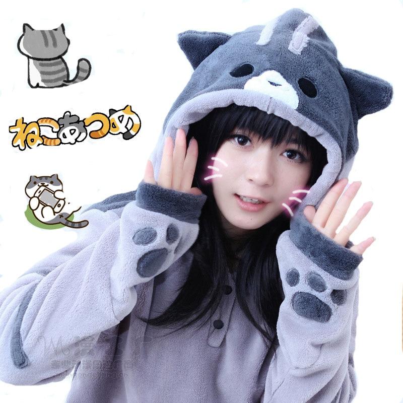 New Design Game Neko Atsume Cosplay Costume Hoodie Woman Cute Cat Thicken Flannel Hooded Sweatershirts Winter Coat Jacket