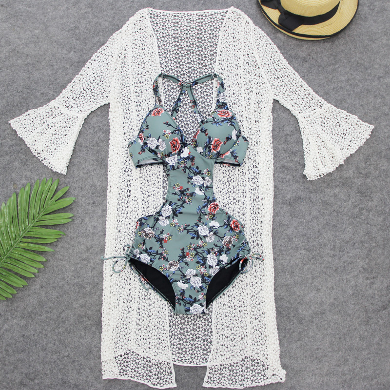 Summer Retro Floral Sexy One Pieces Swimwear Women Swimsuit with Hollow White Cover-Ups Girls Beach Wear Push Up Bathing Suit