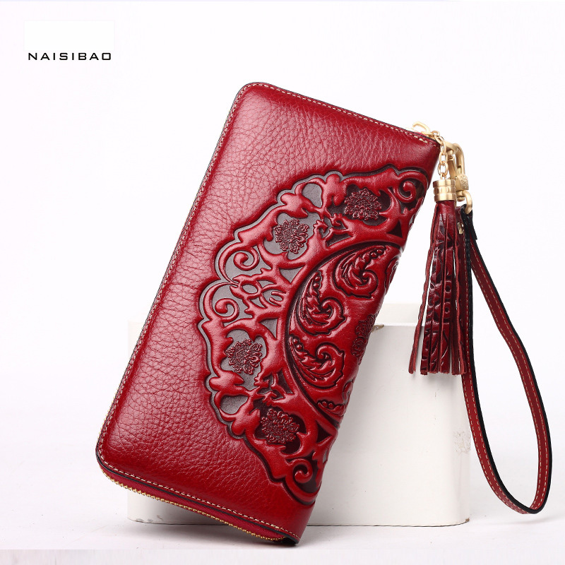 NAISIBAO luxury brand purse genuine leather women wallet chinese style designer clutch ladies vintage purses long vintage wallet naisibao 2017 luxury genuine leather women long wallet brand purse ladies clutch vintage designer printing wallets chinese style