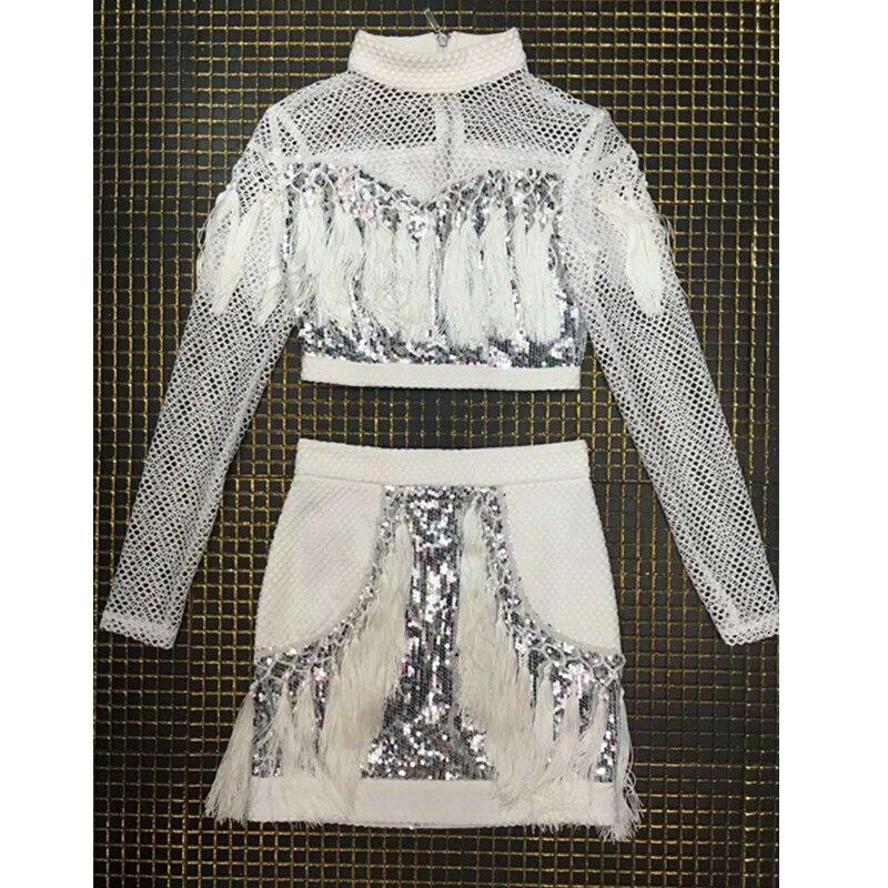 À Creux Élégante Longues Out Deux Sexy Mini Nouveau Patchwork Arrivent Robes 2018 Pièces Gland Paillettes Mode 2 Femmes Manches Clubwear qnwB7aS
