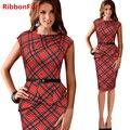 Mulheres da moda primavera verão vintage fino lápis dress lady mangas o pescoço listrado vermelho formal de trabalho de escritório ol dress df0335