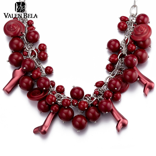 VALEN BELA Wine Red Beads Chunty Choker Necklace Maxi French Woman Favorite Jewelry Statement Necklace Wholesale XL1569