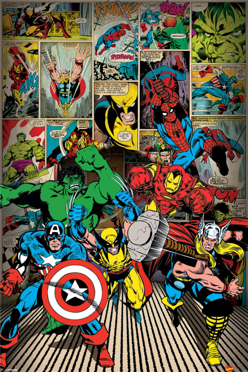 Free Shipping Custom Comics Here Come the Heroes Poster Nice Bedroom Decor  Fashion Wall Sticker Well. Marvel Bedroom Wallpaper