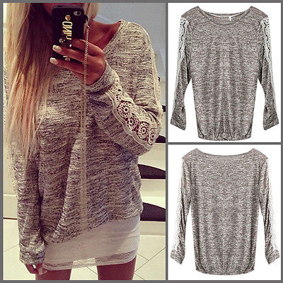High Quality New Plus Size Women Loose Long Sleeve Lace Blouse Women's Sexy Lace Tops Blouses Casual Blouse Ladies Tops UK 6-14
