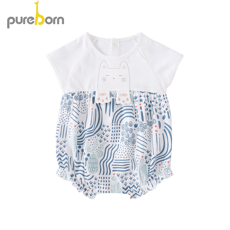 Pureborn Baby Bodysuit Short Sleeve Baby Clothes O-neck Baby Boys Girls Clothes Infant Jumpsuit Overalls Newborn Baby Clothing