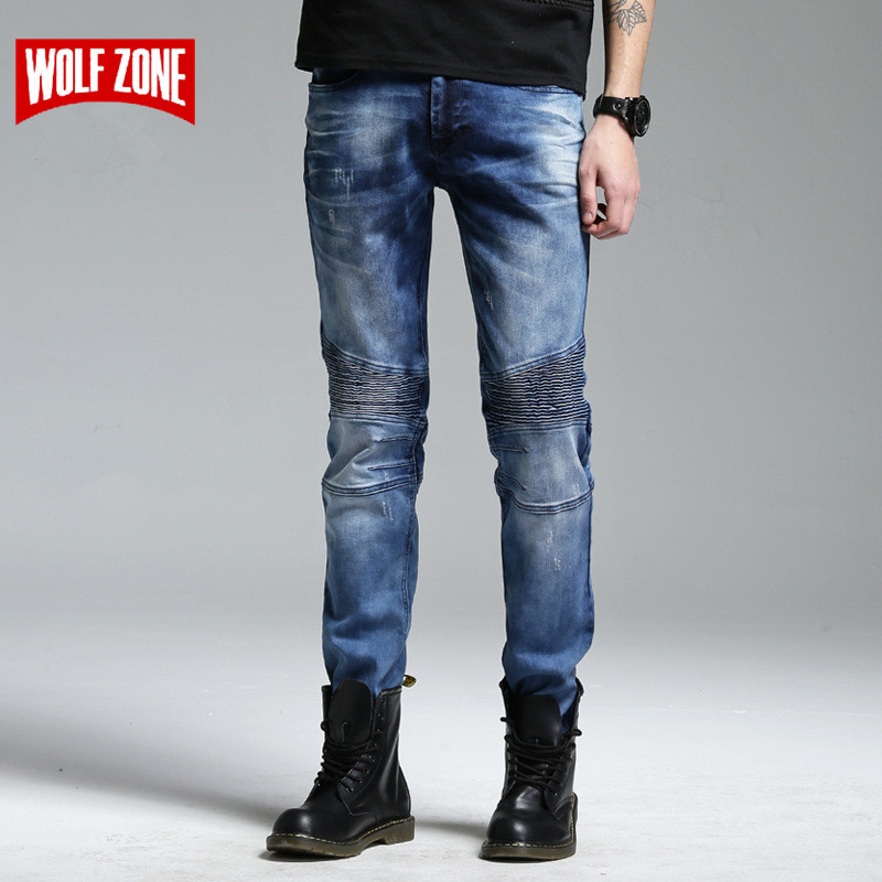 Top Fashion Streetwear Pants 2017 New Jeans Men Ripped Skinny Distressed Slim Famous Brand Designer Biker Hip Hop Robin Mens  new 2016 fashion mens cotton ripped jeans pants with rivet men slim fit white black hip hop distressed biker jeans z17