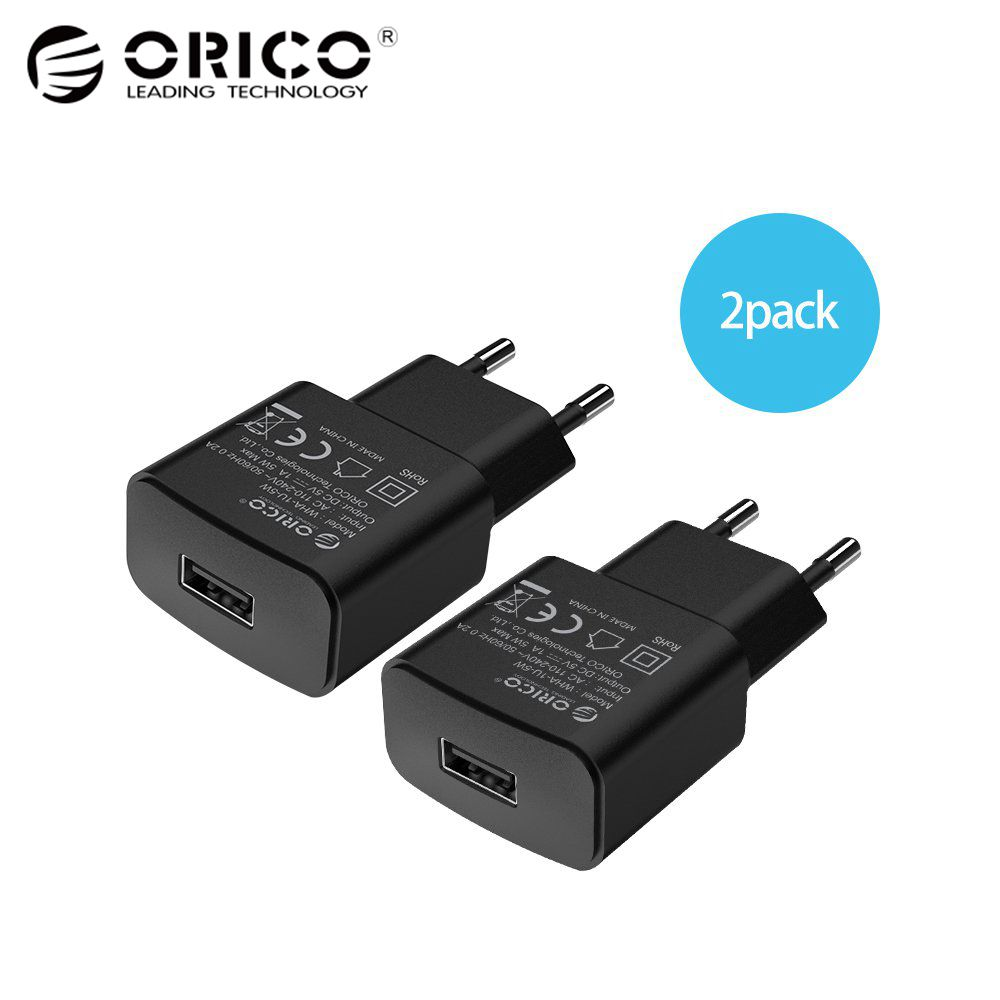 ORICO 5V 2A EU Plug USB Charger Mobile Phone Travel Power Adapter For iPhone 6 6s 7 Plus Samsung S7edge Xiaomi 2 Pieces Black