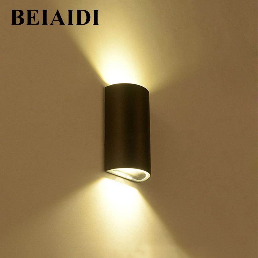 BEIAIDI 6W Waterproof COB LED Wall Lamps UP and Down Outdoor Indoor home Porch Balcony Graden Corridor Wall Sconce Light beiaidi 6w waterproof cob led wall lamps up and down outdoor indoor home porch balcony graden corridor wall sconce light