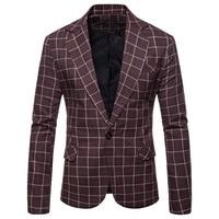 Men's Autumn Casual Plaid Suit Jacket Clothing Brand Men Slim Fit Blazers Male Suits Coat Fashion Boutique Grid Blazer Jackets