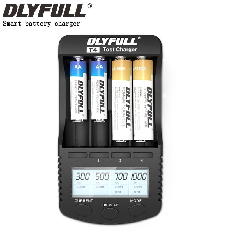 DLYFULL T4 LCD 3.7 v 1.2 v 18650 26650 16340 14500 10440 18500 AA AAA caricabatterie intelligente della batteria