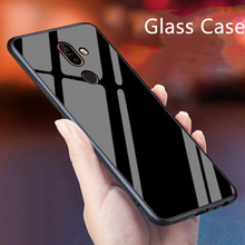 Glass Case For Nokia 7 Plus / X7 Silicone TPU Frame+Glass Bl