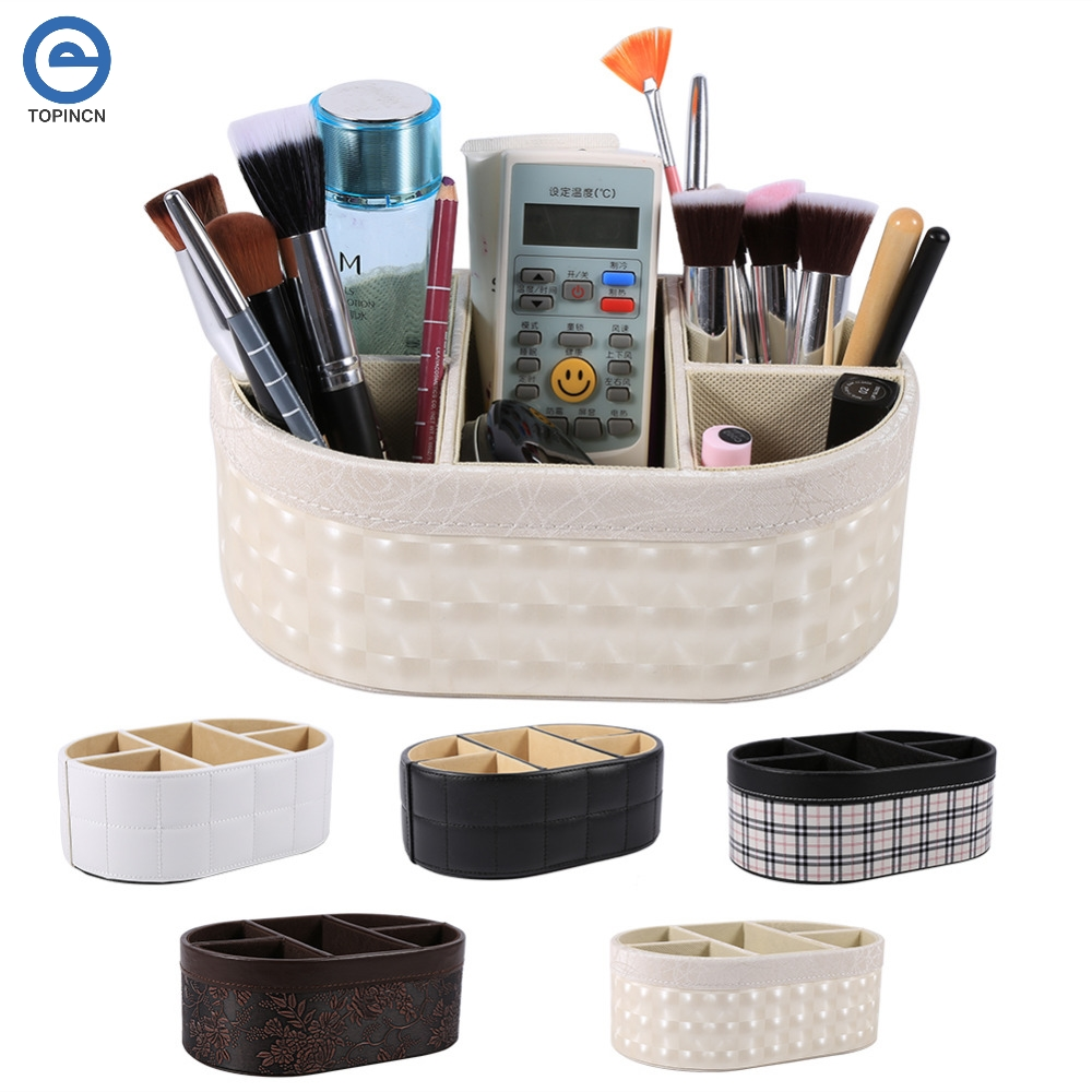 Oval Shape Leather Stationery Sundries Collection Storage Box Desktop Makeup Organizer Case